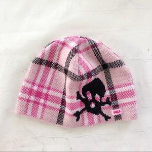 [Bula] pink plaid skull beanie girls